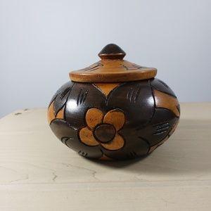 Labadee Haiti Wooden Carved Pot